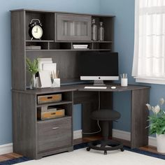 Hillsdale L- Shape Desk with Hutch – Executive Home Office Design Corner Desk With Hutch, Desk Hutch, Tv Hutch, Wood Writing Desk, Computer Desk With Hutch, Computer Desks, Iron Age, Home Office Design, Home Office Decor