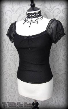 Romantic Goth Black Spotty Net Frilly Wench Top 8 Gypsy Vampire Maiden Alt   THE WILTED ROSE GARDEN