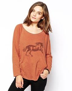 RVCA Horse Print Long Sleeve T-Shirt