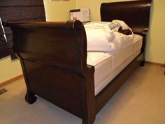 ANTIQUE MAHOGANY SLEIGH BED TWIN/SINGLE SIZE/ 100 + YEARS OLD/EMPIRE FURNITURE