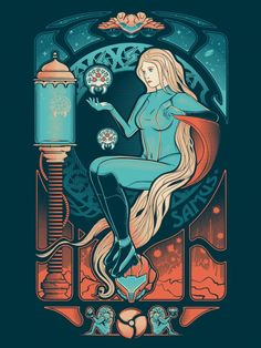 warpaintpress:  Samus Nouveau by Victor's Beard at warpaintpress.com 5 color screenprint on French paper $25