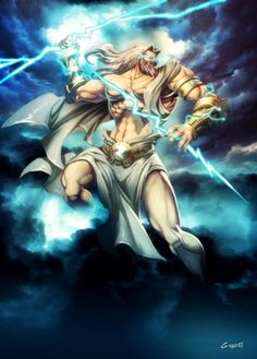 Zeus; King of the Greek Gods. Lord of the skies, the storm, the winds, and lightning. Son to Chronus. Brother of Posideon, Hades, Demeter, Hesita and Hera