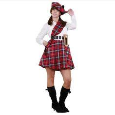 Tu mejor disfraz de escocesa para mujer bt2558.Este original y completo Disfraz para chica presenta la estética típica de los trajes típicos de Escocia pero con un toque femenino y muy sensual. Con su característico estampado de cuadros rojos y negros causarás sensación en Carnaval, Despedidas y Fiestas Temáticas de Disfraces.