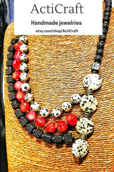 Handmade item Materials: Gemstone Adjustable length: No Gemstone: Coral Style: Boho & hippie Chain style: Bead Description ActiCraft - Crafting Your Curiosity! Unique beautiful multi strand necklace - attractive handmade beaded necklace with different natural stones including Lava stones beads and other natural country stones with multi color stones. Perfect gift for birthdays, anniversaries,Christmas, for celebrating friendships and love for women and girls. Handmade Necklaces, Charm Necklaces, Beaded Necklaces, Statement Necklaces, Handmade Jewelry, Gemstone Necklace, Strand Necklace, Body Jewelry, Jewelry Shop