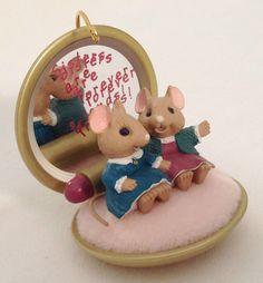 "Hallmark Keepsake ""Sister to Sister"" Boxed Mice on Lady's Compact Ornament 1993 | eBay"