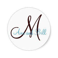 Chocolate Teal Wedding Monogram Names Sticker