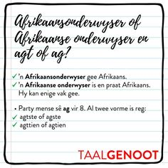 Sê mens ag of sê jy agt? Afrikaans Language, Grammar Games, Teaching Aids, Education, Words, School Stuff, Classroom Ideas, Compliments, Afrikaans
