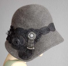Gorgeous Gray Cloche With Jeweled Side Dip ♡ by ohmama on Etsy