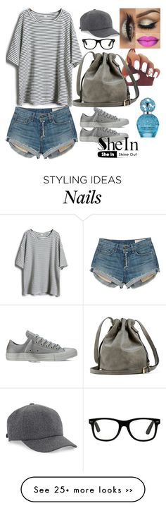 """Grey Short Striped T-Shirt in my style"" by azra-2709 on Polyvore featuring Converse, rag & bone, Brunello Cucinelli and Marc Jacobs"