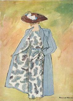 Fashion Illustration by Bernard Blossac, 1947, Lucile Manguin.