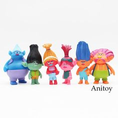 6pcs/set Movie Trolls Poppy Branch Biggie PVC Action Figure Collectible Model Toy 10cm KT3586