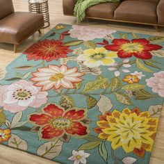 """Nourison Hand-Hooked Fantasy Blue Floral Rug (5' x 7'6"""") Too much? Not sure. I love it though."""