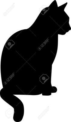 Silhouette Seduto Cat Clipart Royalty-free, Vettori E Illustrator Stock. Image 40805175.