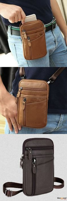 9a0c7a979552 7 Inches Cell Phone Men Genuine Leather Waist Bag Cowhide Crossbody Bag