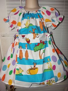 Choice Of Fabric Dr Seuss Fabric Dress Cat In The Hat Handmade To Order  See full details and 2nd picture Book Dress