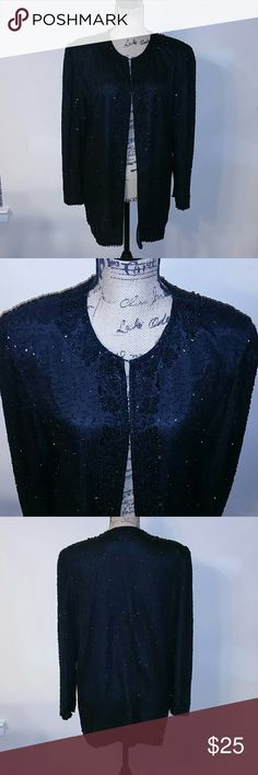 Black Sequin Long Jacket Formal Wear Lovely vintage sequin jacket. Great for a formal event. One front hook. No stains or tears. In great condition. Size tag is missing but it looks like a size 14/16 XL American Night Jackets & Coats Blazers