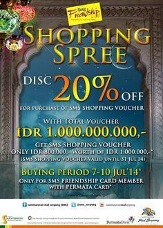 Summarecon Mal Serpong: Promo Shopping Spree, Discount 20% + Voucher IDR 1.000.000.000,- @sms_serpong