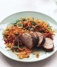 Chili-Glazed Pork with sweet potato hash
