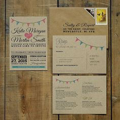 vintage bunting kraft save the date card by feel good wedding invitations | notonthehighstreet.com