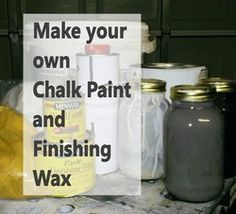 Make your own Chalk paint and finishing wax for less! I want something with chalk board paint and tis is the way to get the color I want. Chalk Paint Projects, Chalk Paint Furniture, Refurbishing Furniture, Laminate Furniture, Diy Home Decor Projects, Diy Projects To Try, Do It Yourself Baby, Do It Yourself Furniture, Tadelakt