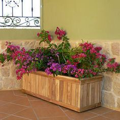 The Teak Trough Planter combines form and function and made from naturally durable teak that is harvested on an environmentally sound territory in Costa Rica Trough Planters, Wooden Planters, Outdoor Planters, Outdoor Landscaping, Planter Boxes, Outdoor Gardens, Rectangular Planters, Garden Trees, Teak
