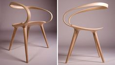 This flowing, curved wooden armchair was designed by Jan Waterston, after he was inspired by cycling.