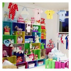 """Our """"washing line"""" baby clothes display."""