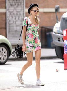sneakers   floral dress