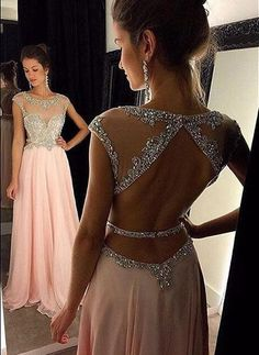 Backless Prom Dress with Silver Beading, Graduation Evening Party Dresses Formal Dress For Teens BPD0072