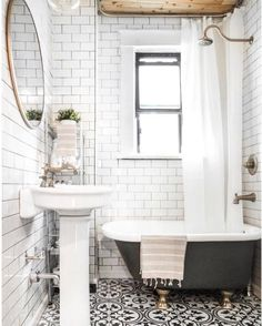 "2,097 Likes, 48 Comments - Erin | Cotton Stem Interiors (@cottonstem) on Instagram: ""Oooooohhh dang. This bathroom!! The classic subway tiles floor to ceiling, that little clawfoot…"""