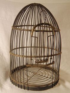 Old Wire Bird Cage with Slide Openings by idoingreen on Etsy, $199.00