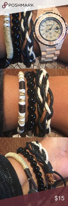 Set of Three Trendy Bracelets This lovely bracelets can be worn alone or will look outstanding with your favorite watch. Color scheme-Black, White, Tan, and Brown. Watch is available for sale get a better value when you bundle. EvolvingAlways Jewelry Bracelets