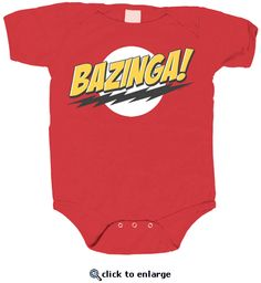 Jordan - The Big Bang Theory Bazinga! Red Baby Infant Romper Onesie - A size for baby and a 2T shirt.