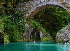 Swim in Ndiza River under the Napolean Bridge in the highlands of Slovenia.