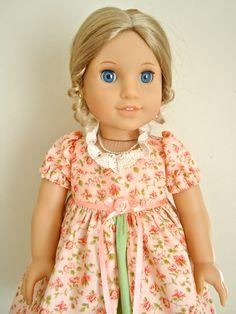 RESERVED FOR VAN, American Girl Doll Clothes, Caroline, Pretty in Peach Regency Dress. $30.00, via Etsy.