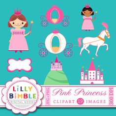 40% off Princess clipart for birthday invites, castle, carriage, clip art INSTANT DOWNLOAD Birthday Invitations, Invites, Pink Princess, Pink Glitter, Castle, Clip Art, Unique Jewelry, Handmade Gifts, Etsy