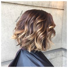 brunette balayage and a textured bob