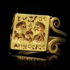 Early Byzantine gold marriage ring, circa 4th century AD.