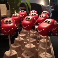 For my grandson's 2nd birthday, just this past February, he had a cars themed party. I made little red cars to resemble Lightning McQue...