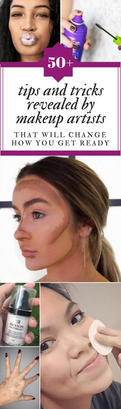 These makeup tips and tricks and other beauty hacks will change the way that you get ready. These makeup tips and tricks will change your beauty routine. Beauty Make Up, Diy Beauty, Beauty Skin, Health And Beauty, Beauty Hacks, Homemade Beauty, Makeup Dupes, Eye Makeup, Hair Makeup