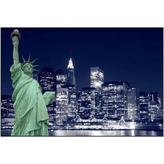 The Statue of Liberty and Manhattan Skyline at Night, New York City Photography by Eazl, Size: 18 x 12, Silver