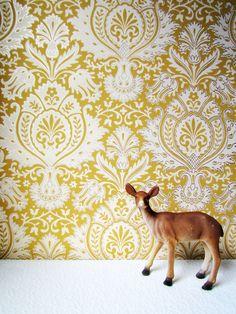 Vintage Mustard Ancanthus Leaf Wallpaper One Yard.  via Etsy.