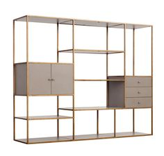Emerson Bookshelf w/ Drawers & Cabinet in Antique Gold design by Redford House