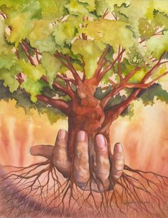 """Original watercolor painting titled """"Growing Awareness"""" of a hand holding a tree with the world and other things hidden within it. Hand Holding Something, Growing Tree, Watercolor Paintings, Watercolors, Giclee Print, Fine Art, Gallery, Senior Project, Water Colors"""