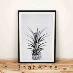 Black and white Ananas print Gray pineapple print by ShakArts