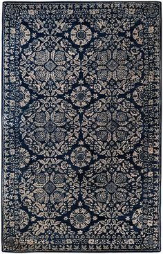 Imagine this dark slate blue rug in my living room.from the Smithsonian Collection for Surya Room Rugs, Rugs In Living Room, Wool Area Rugs, Blue Area Rugs, Blue Rugs, Dark Blue Rug, Home Decoracion, Transitional Area Rugs, Transitional Style