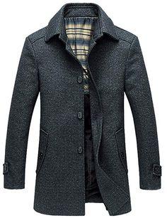 de446712e363d chouyatou Men s Stylish Single Breasted Sherpa Lined Wool Trench Coat  Windbreaker (X-Large