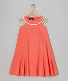 Another great find on #zulily! Coral Ladybird Morning Glory Yoke Dress - Infant, Toddler & Girls #zulilyfinds