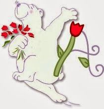 Alfabeto de oso con tulipanes.