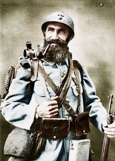 """WW1 French Soldier - Called  """"Poilus"""", meaning """"hairy ones""""."""